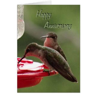 Cartão Casal do colibri no alimentador alguma ocasião