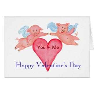 Cartão Casal do porco do vôo com os namorados vermelhos
