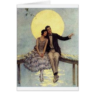 Cartão Casal do vintage - desejado para você em cima de