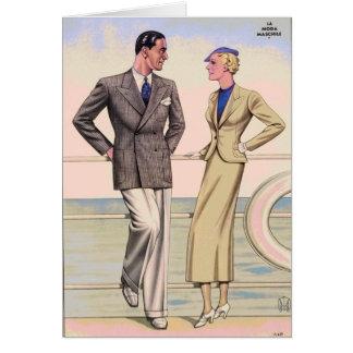 Cartão Casal do vintage no cruzeiro