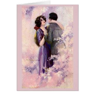 Cartão Casal do vintage - rapsódia no rosa,