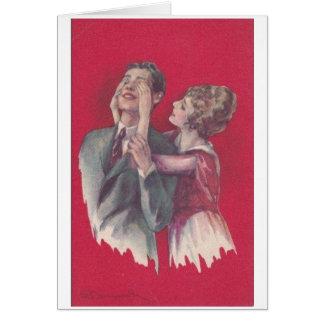 Cartão Casal do vintage - suposição quem? ,