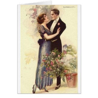 Cartão Casal do vintage - um abraço Loving,