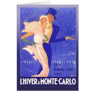 Cartão Casal glamoroso do traje de cerimónia do vintage