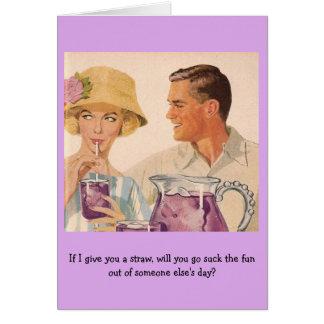 Cartão Casal retro - se eu lhe dou uma palha…,