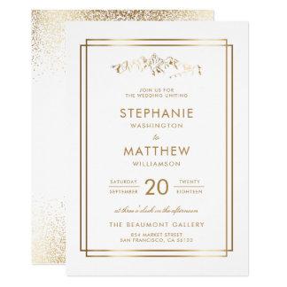 Cartão Casamento à moda da montanha do branco & do ouro