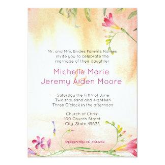 Cartão Casamento alternativo do pop do rosa do Freesia de
