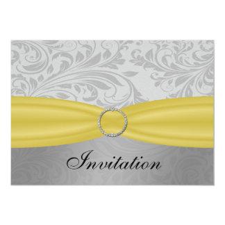 Cartão Casamento amarelo cinzento da curvatura do