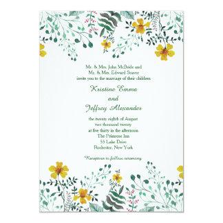 Cartão Casamento amarelo do jardim da prímula da aguarela