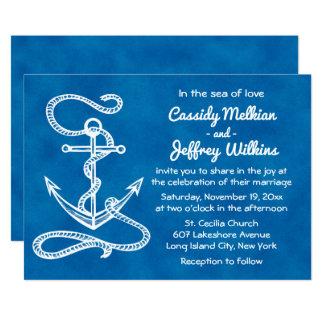 Cartão Casamento azul da aguarela da âncora náutica do