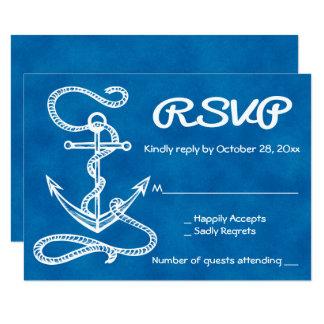 Cartão Casamento azul da aguarela náutica da âncora do