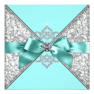 Cartão Casamento azul da cerceta branca dos diamantes