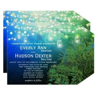 Cartão Casamento azul da iluminação da festão do frasco