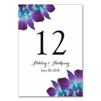 Cartão Casamento azul da orquídea do Dendrobium