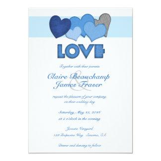 Cartão Casamento azul do AMOR dos corações