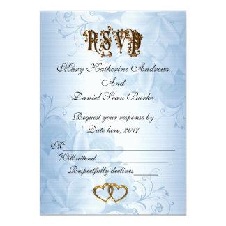 Cartão Casamento azul elegante do cetim de RSVP