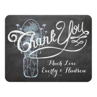 Cartão Casamento azul rústico do quadro do frasco de