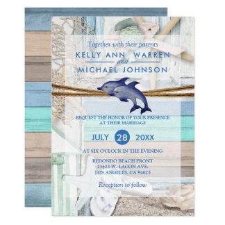 Cartão Casamento beira-mar do golfinho