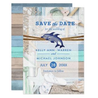 Cartão Casamento beira-mar do golfinho - salvar a data