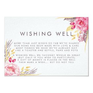 Cartão Casamento bom de desejo floral da aguarela