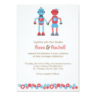 Cartão Casamento bonito do tema do robô