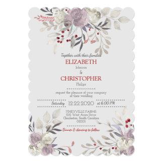 Cartão Casamento botânico 2 da aguarela floral do vintage