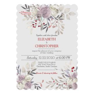 Cartão Casamento botânico da aguarela floral do vintage