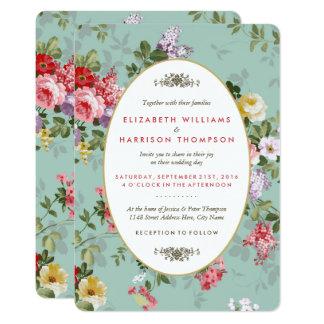 Cartão Casamento botânico do jardim floral do vintage