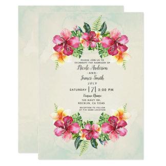 Cartão Casamento botânico floral Aloha das flores