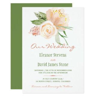 Cartão Casamento botânico rústico do buquê da peônia da