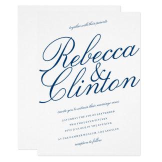 Cartão Casamento branco do roteiro azul ocasional da