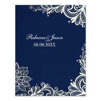 Cartão casamento branco dos azuis marinhos do teste