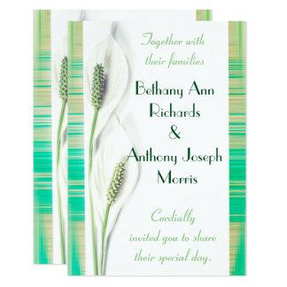 Cartão Casamento branco e verde do lírio de paz