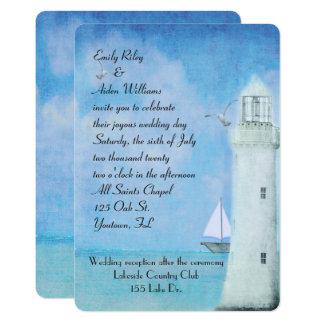 Cartão Casamento branco náutico do farol e do veleiro