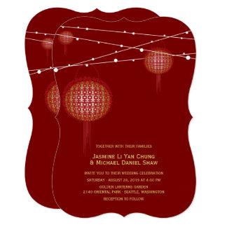 Cartão Casamento chinês das lanternas dobro douradas da
