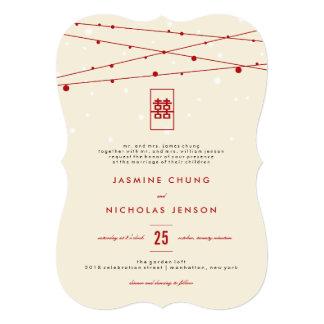Cartão Casamento chinês dobro vermelho das luzes