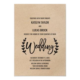 Cartão Casamento chique rústico da caligrafia de Kraft do