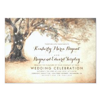 Cartão Casamento cinzelado rústico do carvalho do vintage