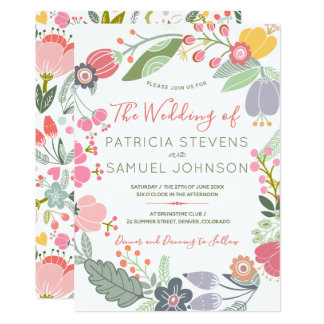 Cartão Casamento colorido Pastel da grinalda do prado dos