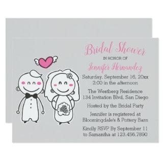 Cartão Casamento cor-de-rosa & cinzento da noiva & do