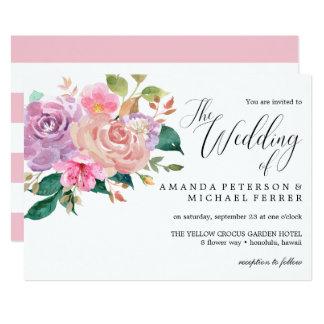 Cartão Casamento cor-de-rosa delicado elegante do buquê