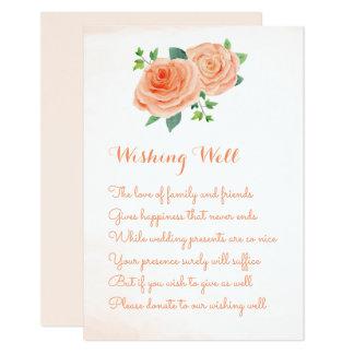 Cartão Casamento cor-de-rosa do pêssego que deseja