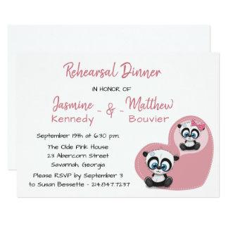 Cartão Casamento cor-de-rosa do urso de ursinho da panda