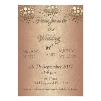 Cartão Casamento cor-de-rosa dos confetes do ouro do