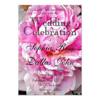 Cartão Casamento cor-de-rosa e branco