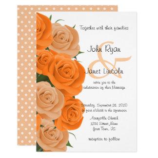Cartão Casamento cor-de-rosa floral alaranjado bonito da