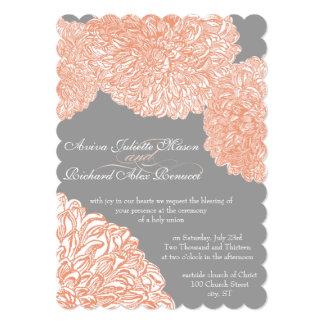 Cartão Casamento coral de florescência do pêssego da