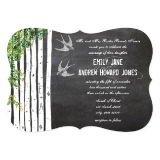 Cartão Casamento cortado da árvore de vidoeiro do pássaro