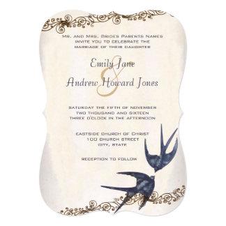 Cartão Casamento cortado do marinho dos pássaros do amor