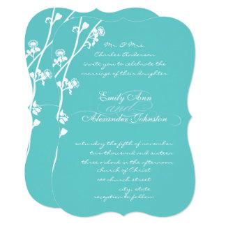 Cartão Casamento cortado do ramo da flor selvagem do Aqua